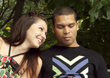 couple outdoors romantic Stock Photography