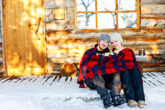 Couple outdoors on winter Stock Photography