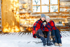 Couple outdoors on winter Royalty Free Stock Photos