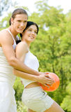 Couple at outdoors workout Stock Photo