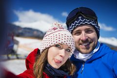 Couple outside in winter nature royalty free stock photo