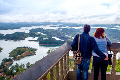 Couple overlooking the beautiful aerial view of Royalty Free Stock Photos