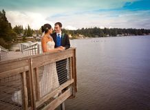 Bridal Couple overlooking water Royalty Free Stock Image