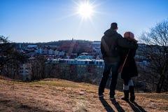 A couple overlooks beautiful Gothenburg stock photos