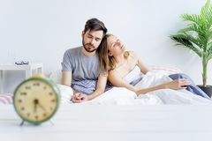 Couple is overslept Royalty Free Stock Images