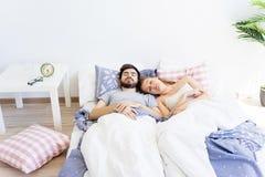 Couple is overslept Royalty Free Stock Photos