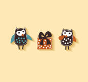 Couple owl icons present gift Royalty Free Stock Photography