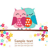 Couple owls with flowers greeting card Stock Photography