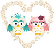 Couple owls in heart Royalty Free Stock Photos