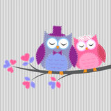 Couple owls in love. Vector card in handiwork style royalty free illustration