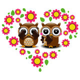 Couple of owls in love. With flowers vector illustration