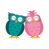 Couple owls love romance. Couple owl love romance vector illustration eps 10 royalty free illustration