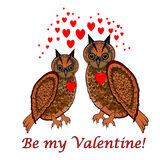 A couple of owls with red hearts and words Stock Photos