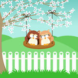 Couple owls on swing Stock Image
