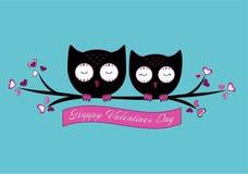 A pair of owls vector illustration royalty free illustration
