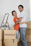 Couple packed for big move Stock Photo