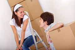 Couple packing Stock Photography