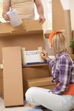 Couple packing for moving Stock Images