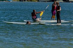 Couple on paddle boards stock images