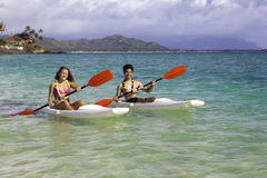 Couple paddling surfskis Stock Photography