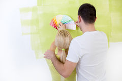 Couple with paint swatches Stock Images