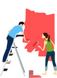 Couple  painter on red. Vector illustration of young adult couple painting interior wall of house Stock Photos