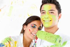 Couple of painters Royalty Free Stock Photography