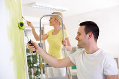 Couple painters renovation home. Young couple painters renovation home Stock Photography