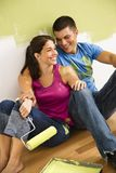 Couple painting home. stock image
