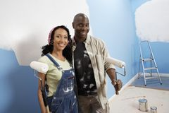 Couple Painting Their New House Royalty Free Stock Photo