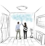 Couple painting together Stock Photo