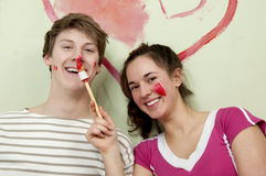 Couple paints heart Royalty Free Stock Photography