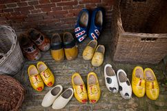 Dutch wooden shoes. A couple pairs of traditional hand painted wooden shoes in a traditional shop in Delft, The Netherlands stock image