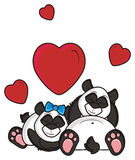 couple panda sleeping amongst red hearts Royalty Free Stock Photography