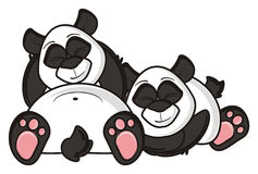 Couple panda sleeps Stock Photos