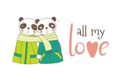 A couple of pandas wrapped in one scarf. Hand drawn vector illustration of a couple of cute funny pandas in coats, holding hands and wrapped in one scarf, with Royalty Free Stock Images