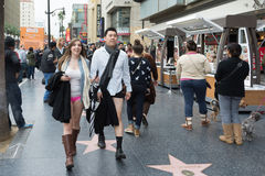 Couple without pants in Hollywood in the Royalty Free Stock Photos