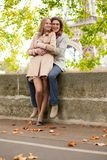 Couple in Paris on a fall day Stock Image