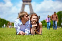 Couple in Paris near the Eiffel tower Royalty Free Stock Image