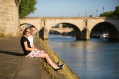 Couple in Paris near the Seine Royalty Free Stock Image