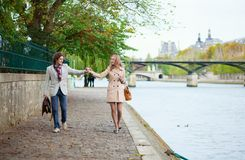 Couple on a Parisian embankment Royalty Free Stock Image