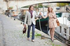 Couple on a Parisian embankment Royalty Free Stock Photography
