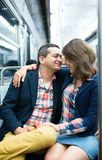 Couple in Parisian metro Stock Photo