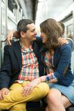 Couple in Parisian metro Royalty Free Stock Photos