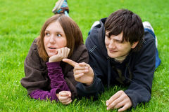 Couple in park. Loving couple is laughing in park Stock Images
