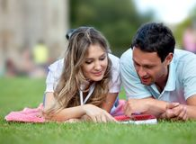 Couple at the park Royalty Free Stock Images