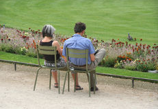 Couple in the Park. Couple sitting in the Jardin du Luxembourg, Paris stock photo