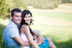 Couple in a park Royalty Free Stock Photo