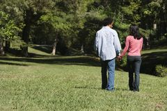 Couple in park. stock photography