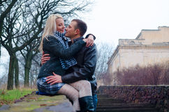 Couple in the park. Near the stairs Royalty Free Stock Images